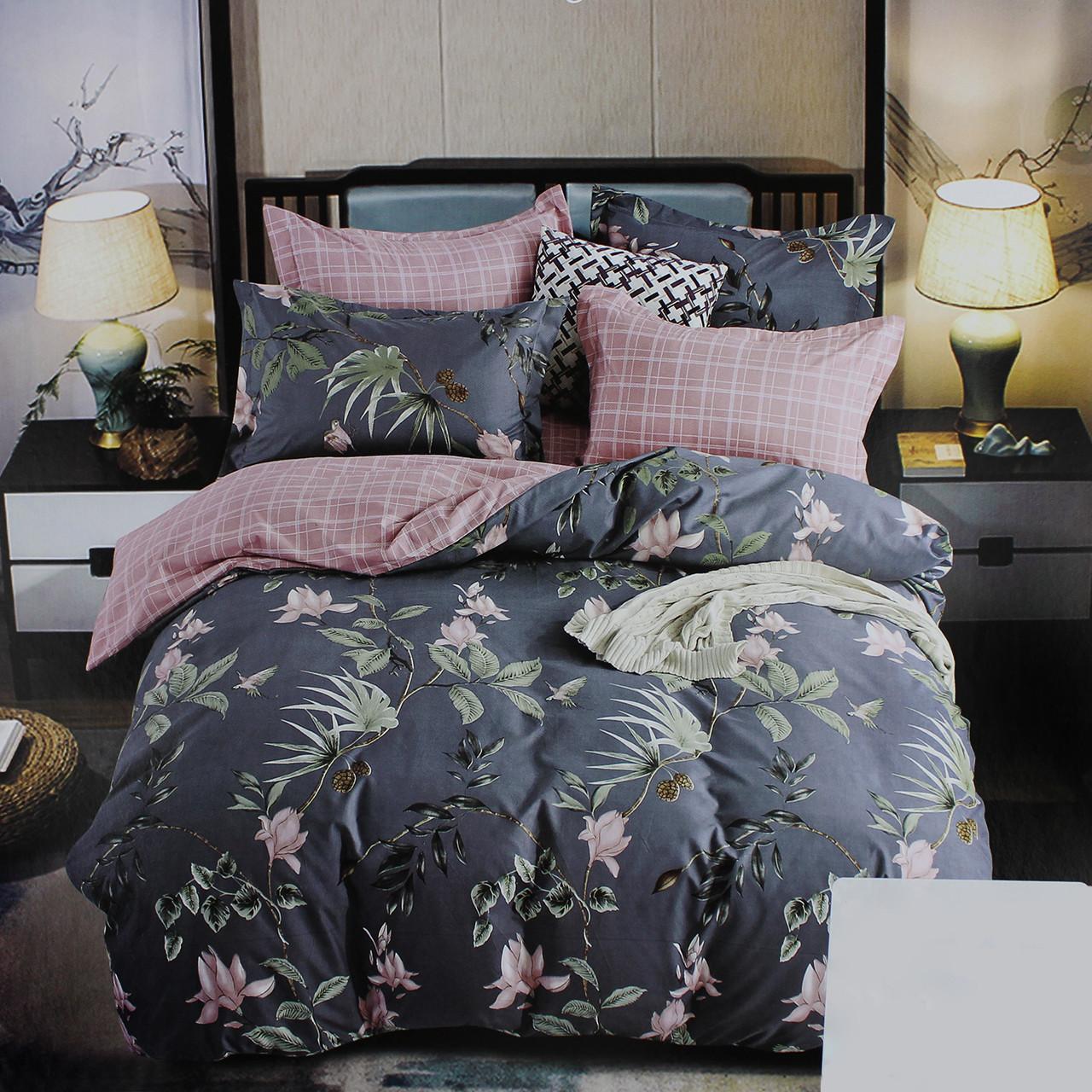 Комплект постельного белья сатин серый Цветы Koloco