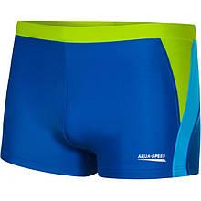 Мужские плавки боксеры Aqua Speed Dario, синие с салатовым и бирюзовым S