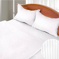 Белое постельное белье в полоску двуспальное Ярослав
