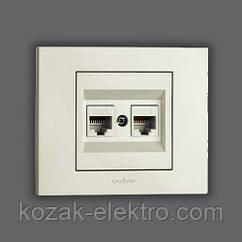 GRANO Розетка 2-ая компьютерная (CAT 6) цвет белый