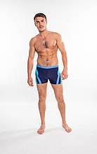 Плавки-боксерки мужские Shepa 408, синие с голубой и бирюзовой вставкой M