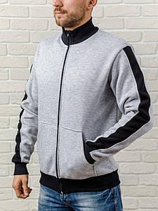 Теплая мужская кофта на молнии, WB, размер S, серая