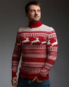 Мужской теплый свитер с оленями c прямой горловиной WB Seylan Collection размер S красно-белый