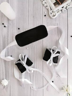 Набор атласная маска на глаза и наручники для сексуальных игр., фото 2