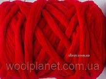 Крупная пряжа для вязания пледов, кардиганов. Шерсть в ленте. Цвет Алый. Крупная пряжа, 100 % меринос.