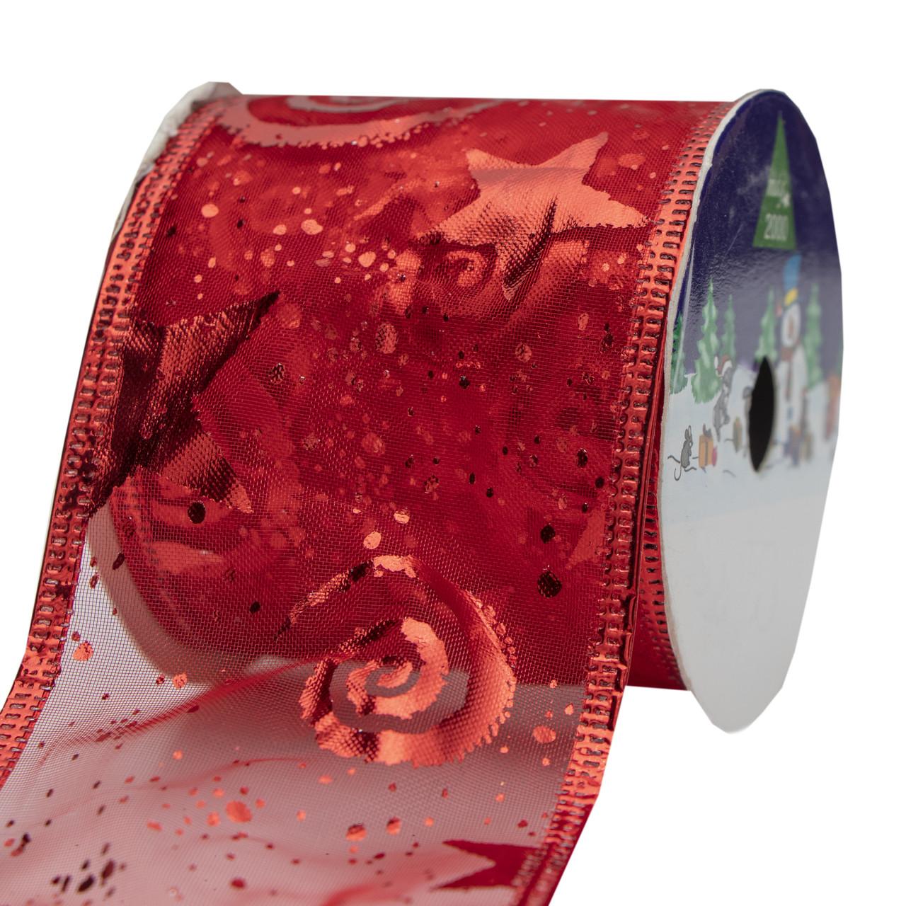 Ленточка из органзы в рулоне, 6,3см*3 м, красная (080013-3)