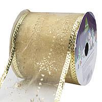 Лента декоративная из органзы в рулоне, 6, 3см*3 м, золото (080518-3), фото 1