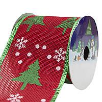 Лента декоративная из полиэстера в рулоне, 6, 3см*3 м, зеленая елка и белая снежинка (080594-2), фото 1