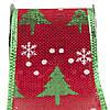 Декоративна прикраса - стрічка в рулоні зелена ялинка і біла сніжинка, 3 м, 6,3 см, поліестер (080594-2), фото 2