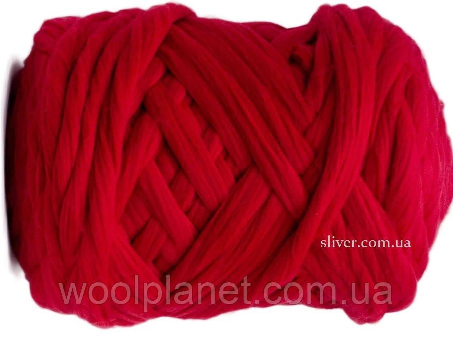Крупная пряжа для вязания пледов, кардиганов. Шерсть в ленте. Цвет Кармин. Крупная пряжа, 100 % меринос.