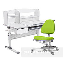 Комплект для школьников парта Cubby Rimu Grey + подростковое кресло FunDesk Ottimo Green, фото 2
