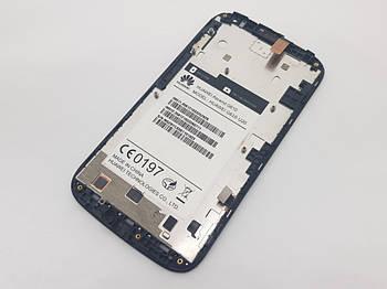 С дефектом. Дисплей Huawei Ascend G610-U20 модуль черный Сервисный оригинал с разборки (трещины на сенсоре)