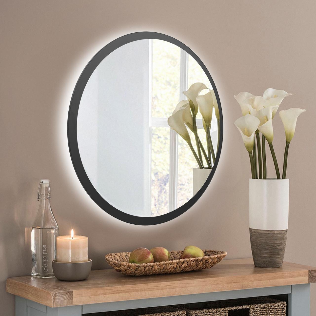 Круглое зеркало в черном цвете с подсветкой 600 мм
