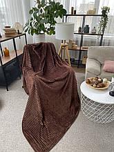 Плед теплий м'який плюшевий матеріал у смужку велсофт Original blanket євро 200*230см кавовий