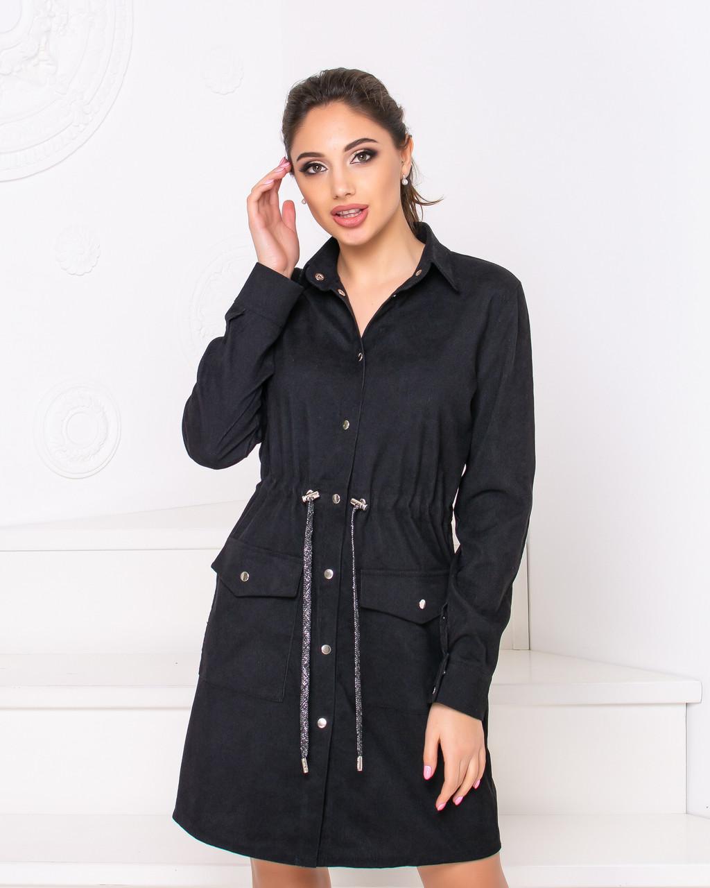 Платье-рубашка женская черного цвета  от YuLiYa Chumachenko
