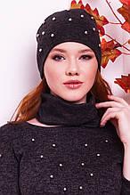 Женская шапка с жемчугом и снуд черного цвета  от YuLiYa Chumachenko