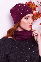 Женская шапка с жемчугом и снуд бордового цвета  от YuLiYa Chumachenko