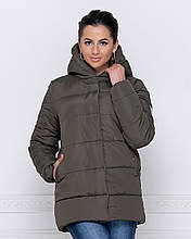 Куртка зимняя с капюшоном  цвета хаки  от YuLiYa Chumachenko