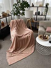 Плед теплий м'який плюшевий матеріал у смужку велсофт Original blanket євро 200*230см Рожевий