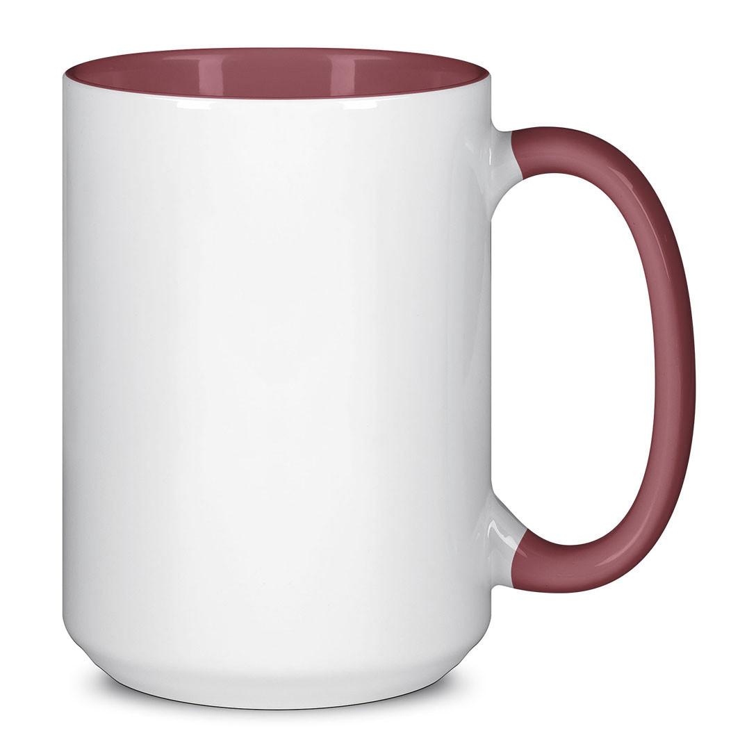 Чашка для сублимации цветная внутри и ручка 425 мл (Бордовый)