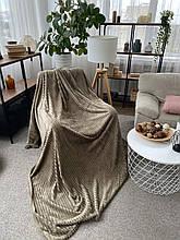 Плед теплий м'який плюшевий матеріал у смужку велсофт Original blanket євро 200*230см Оливковий