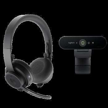 Комплект PRO Logitech для работы с видеосвязью: гарнитура Zone Wireless и веб-камера BRIO 4K