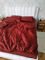 Двохспальний страйп сатин бордо