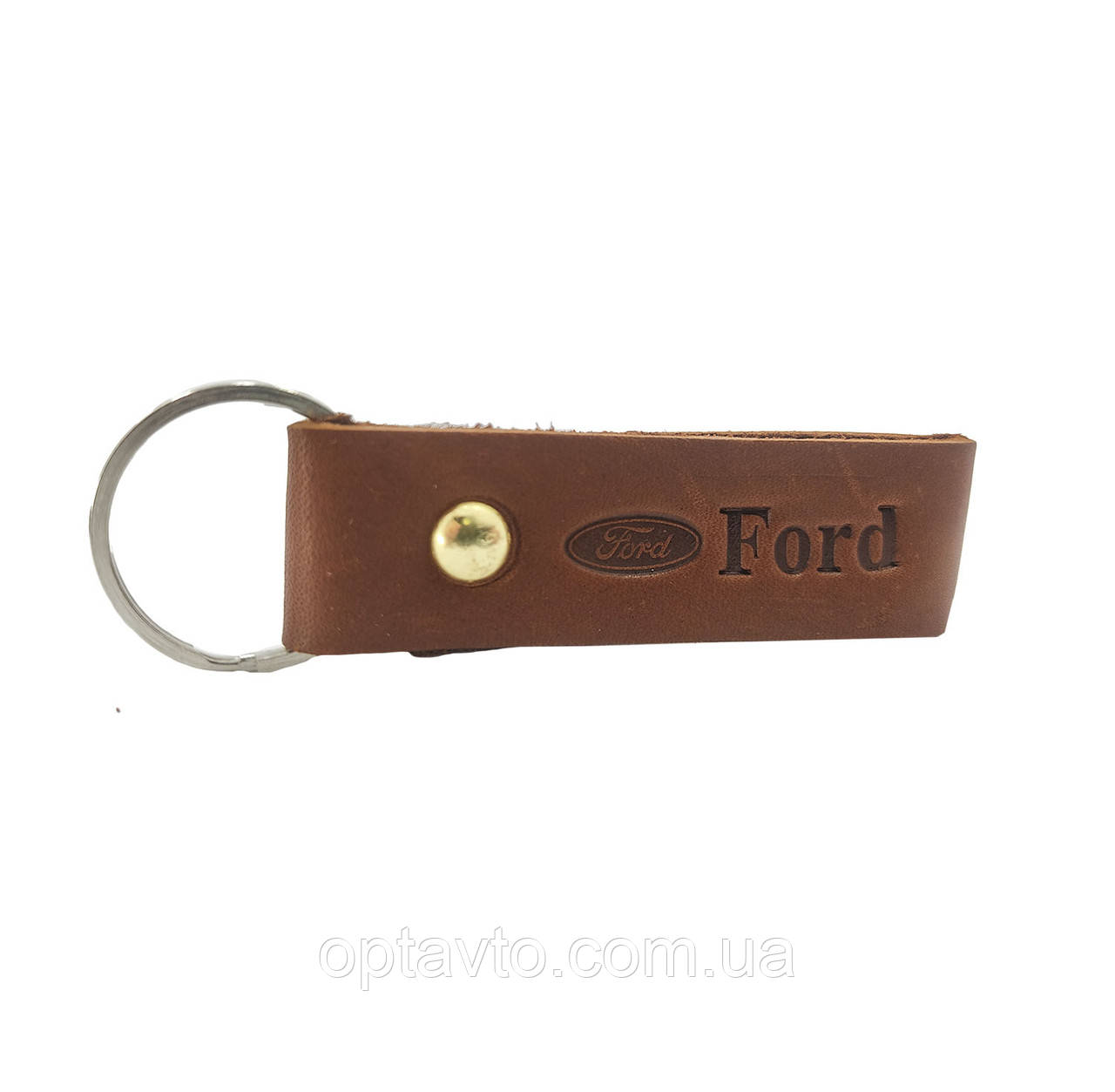 Кожаный брелок Ford. Авто брелок на ключи двухсторонний, кожа Форд.