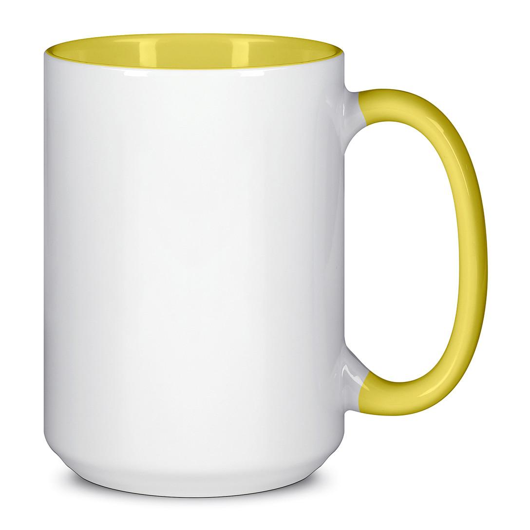 Чашка для сублимации цветная внутри и ручка 425 мл (Желтый)