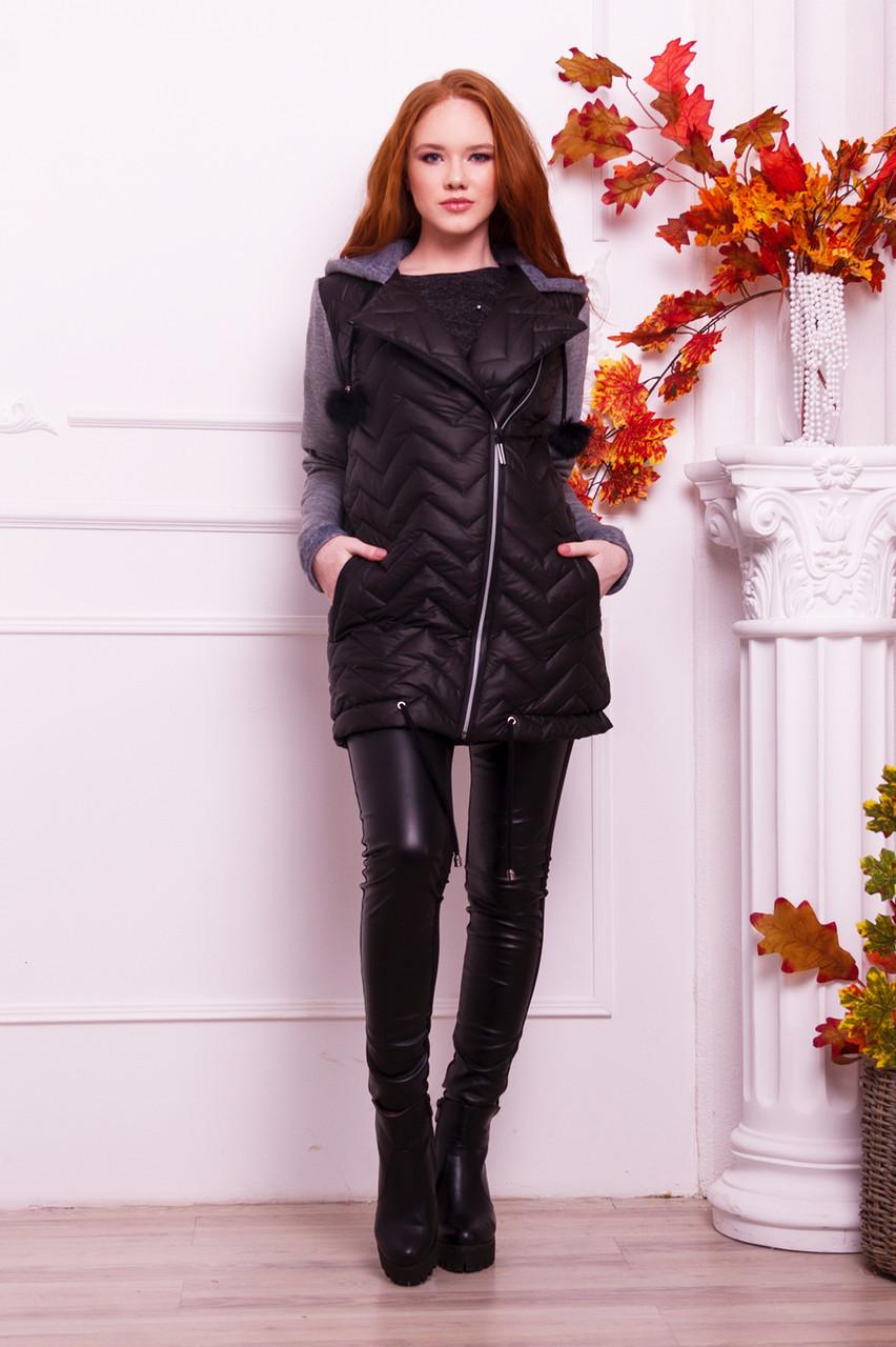 Куртка теплая с капюшоном серого  цвета   от YuLiYa Chumachenko