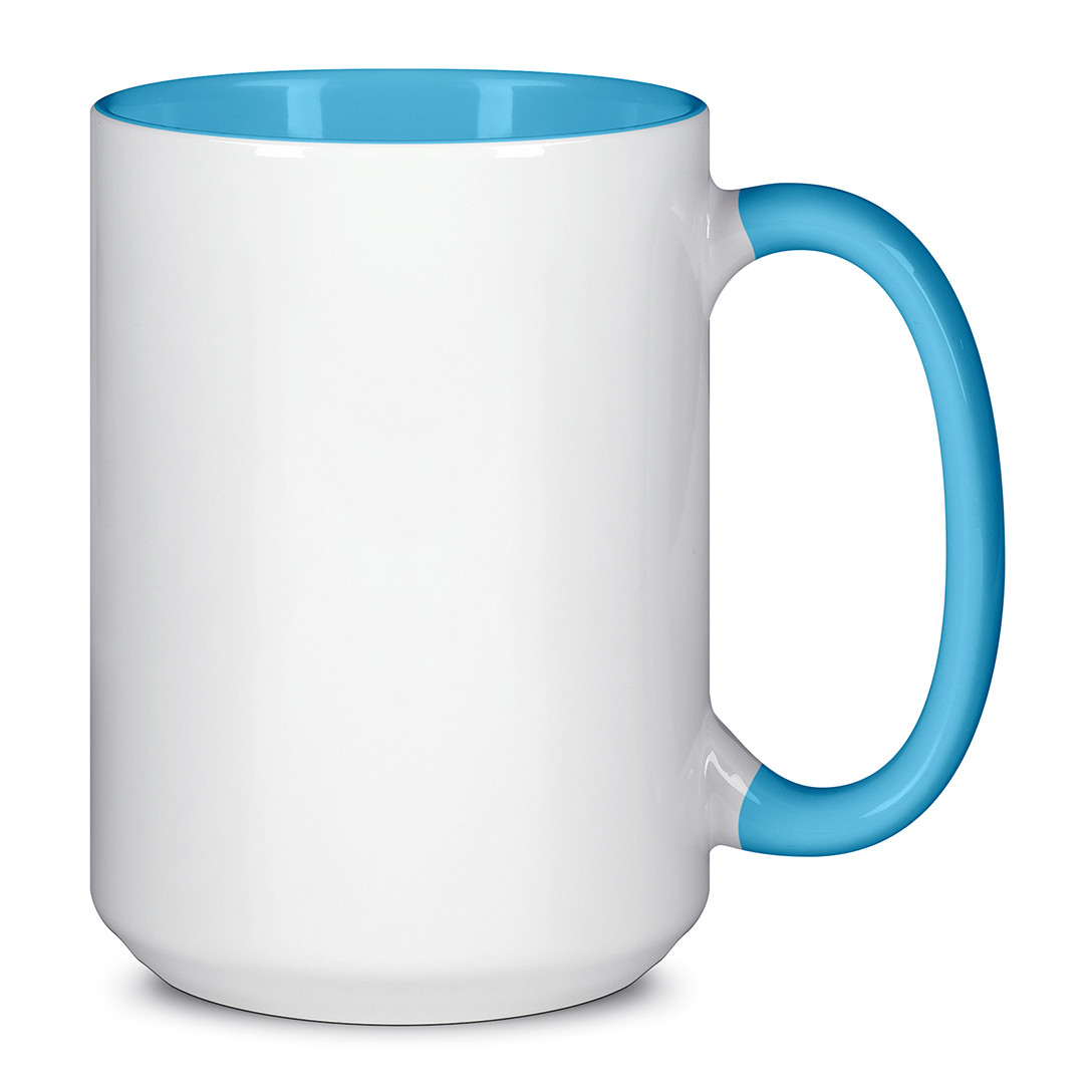 Чашка для сублимации цветная внутри и ручка 425 мл (Голубой)