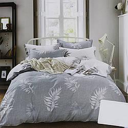 Комплект постельного белья сатин серый Листья Koloco Двуспальний 180х220см