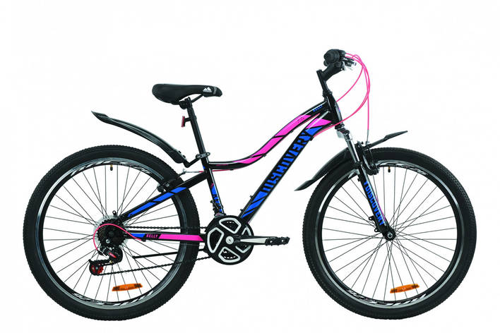 """Велосипед горный женский 26"""" Discovery Kelly AM 2020, ободные тормоза, рама 13,5 черно-малиновый с голубым, фото 2"""
