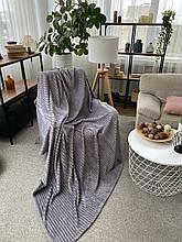 Плед теплий м'який плюшевий матеріал у смужку велсофт Original blanket євро 200*230см Світло Сірий