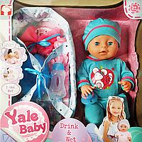 "Кукла Реборн (пупс) мальчик, интерактивный ""Yale baby"" (40см) YL 1811 K (8) (голубой)"