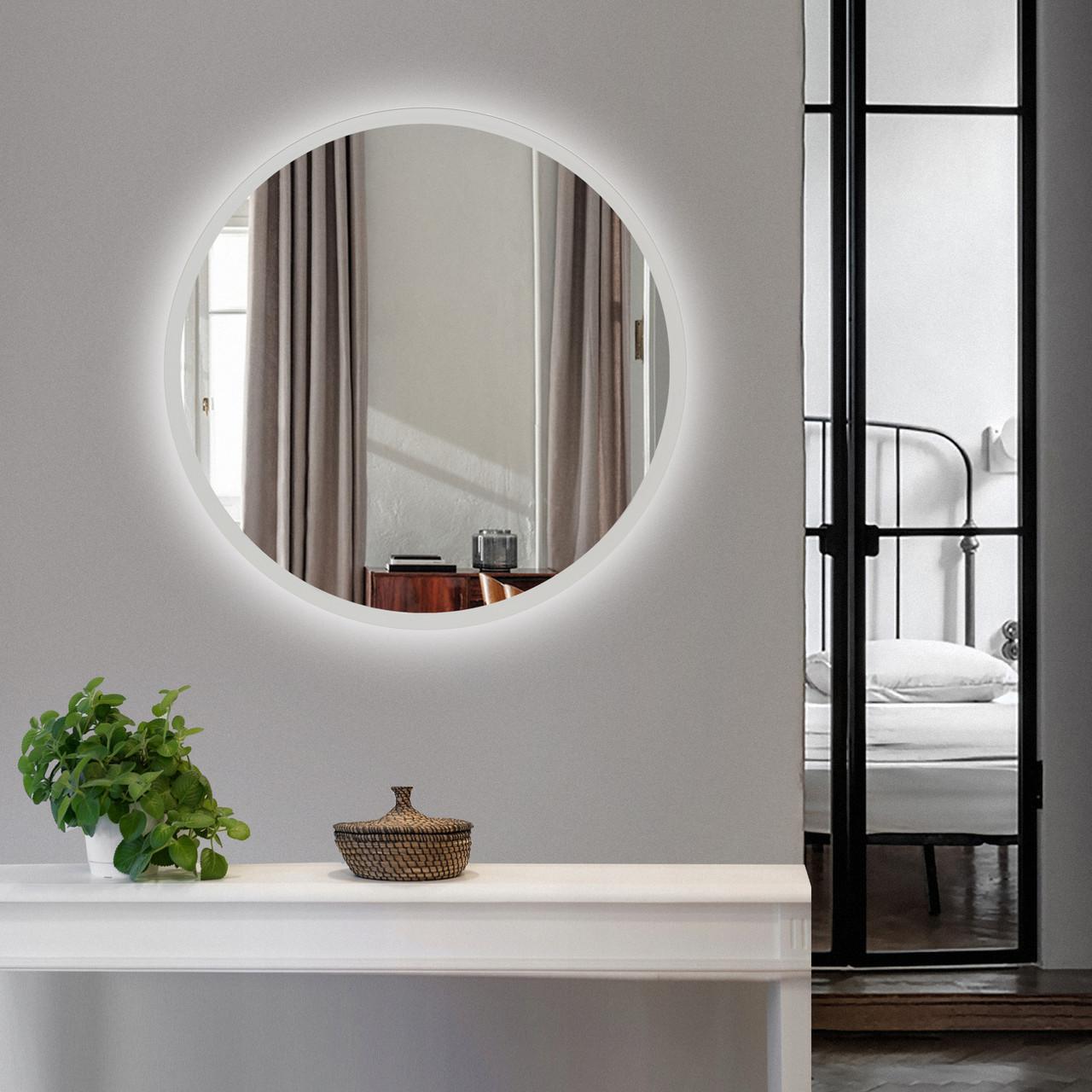 Зеркало с подсветкой белое 600 мм