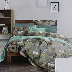 Комплект постельного белья сатин зеленый Листья Koloco Двуспальний 180х220см