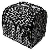 Сумка-чемодан для мастера маникюра, парикмахера и визажиста YRE-2700-5 (черный с белым принтом)