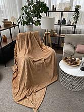 Плед теплий м'який плюшевий матеріал у смужку велсофт Original blanket євро 200*230см Кремовий
