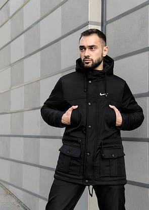Парка Nike Зимняя мужская черная куртка найк длинная теплая, фото 3