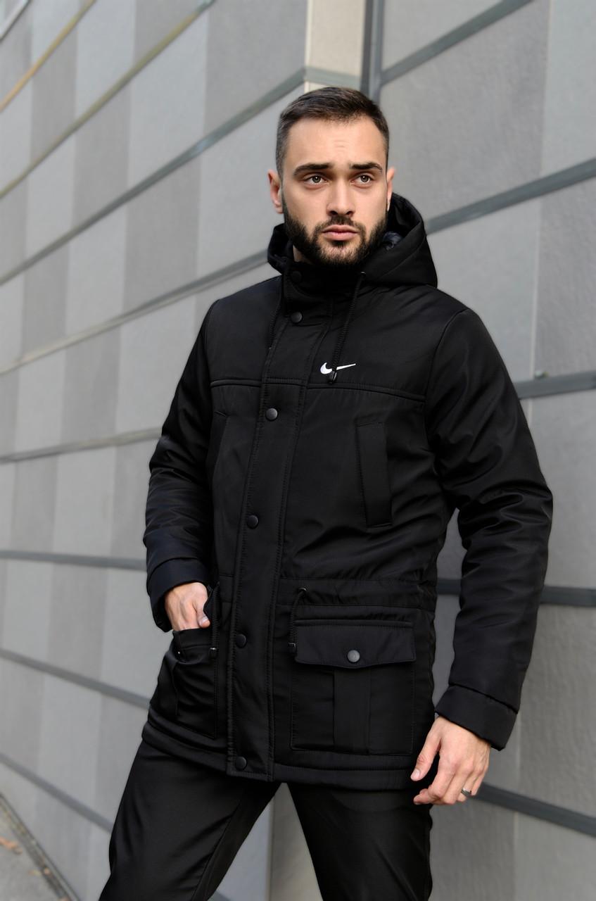 Парка Nike Зимняя мужская черная куртка найк длинная теплая