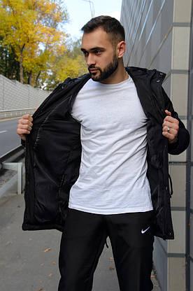 Парка Nike Зимняя мужская черная куртка найк длинная теплая, фото 2