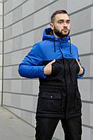 Парка Nike Зимняя мужская синяя черная куртка найк длинная теплая