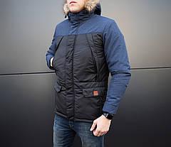 Куртка ALASKA зимняя мужская Pobedov (черная с серой вставкой), фото 3