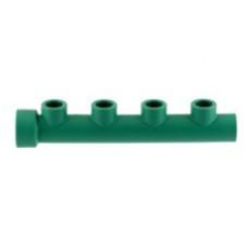Коллектор 4 выхода, PP-R, НВ, D = 32x25мм, зеленый