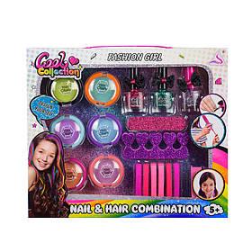 Детский набор косметики Cool Colection J-2007   Набор мелки для волос, резинки, лак