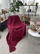 Плед теплий м'який плюшевий матеріал у смужку велсофт Original blanket євро 200*230см Малиновий