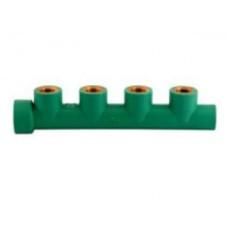 """Коллектор с внутренней резьбой, PP-R, НВ, 4 выхода, D = 32x1/2""""мм, зеленый"""