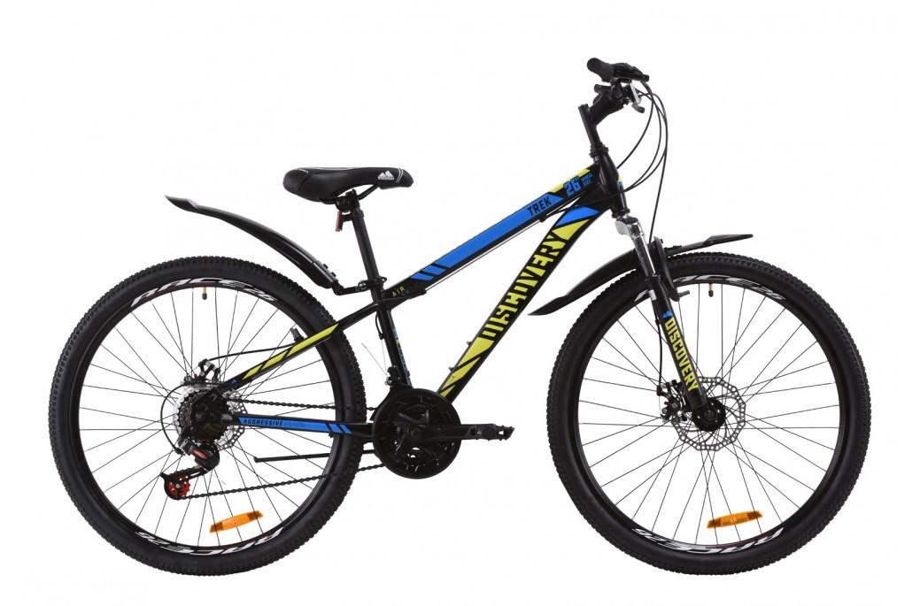"""Велосипед горный 26"""" Discovery Trek AM DD 2020, дисковые тормоза, рама 18"""", черно-зеленый с синим"""