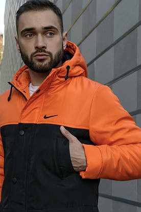 Парка Nike Зимняя мужская оранжевая  черная куртка найк длинная теплая, фото 2